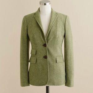 J. Crew Green Tweed Hacking Blazer